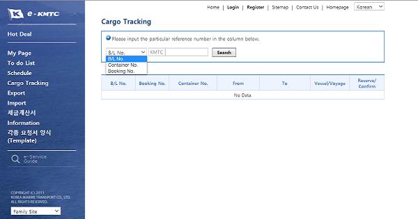 Xem thông tin lô hàng đi qua Hãng tàuKMTC
